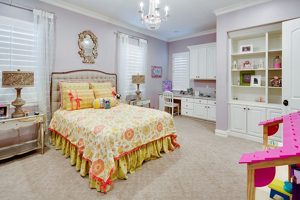 Gentle violets shape a gorgeous girls' bedroom that has classic charm