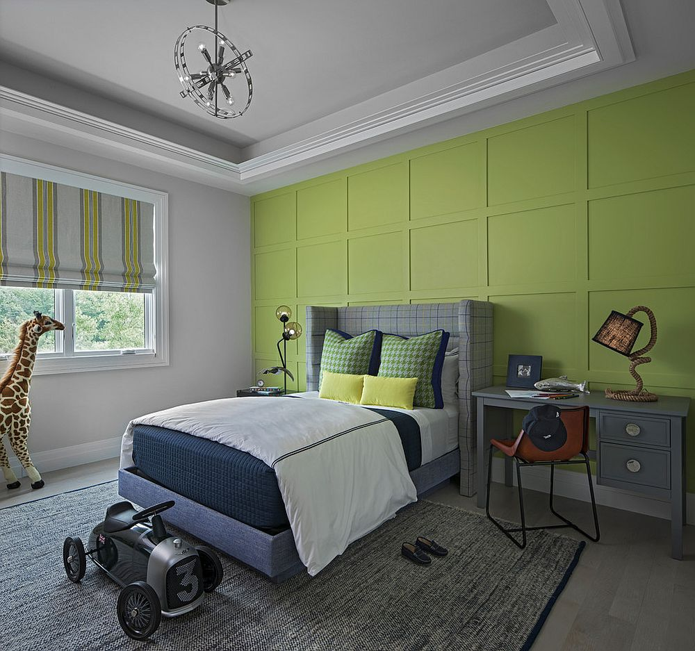 Green accent wall for the modern kids' bedroom in gray