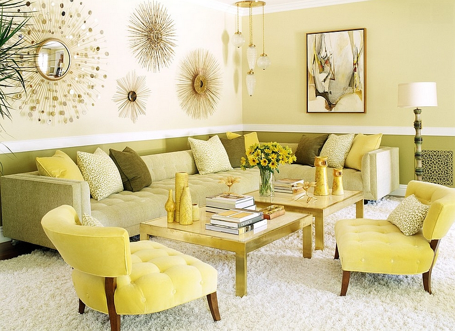 Green and yellow combine in a classy manner in this light-filled living room