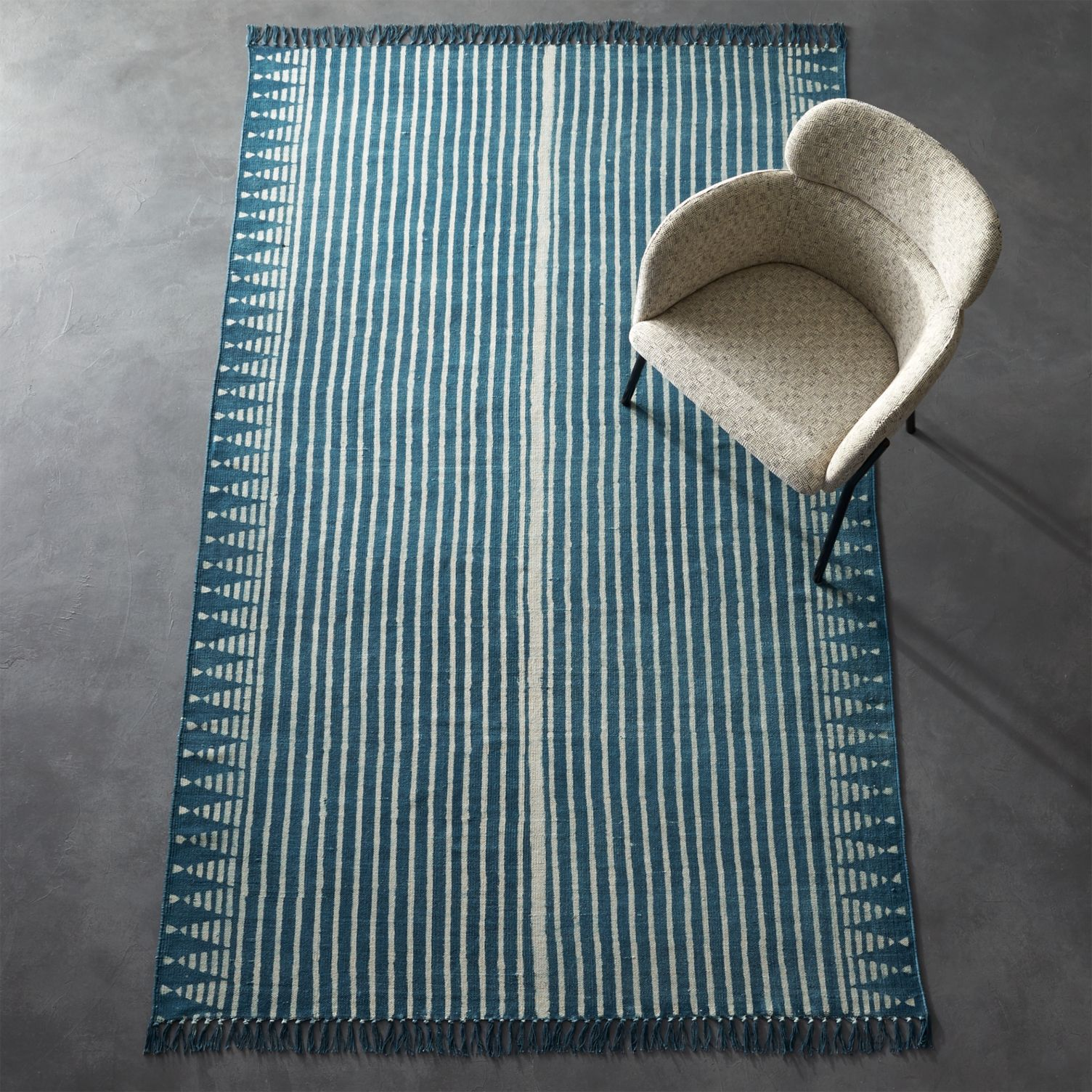 Indigo striped rug