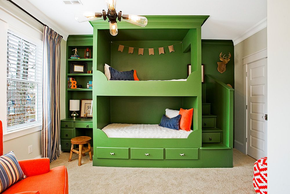 It is the bunk bed unit that brings green to the white bedroom