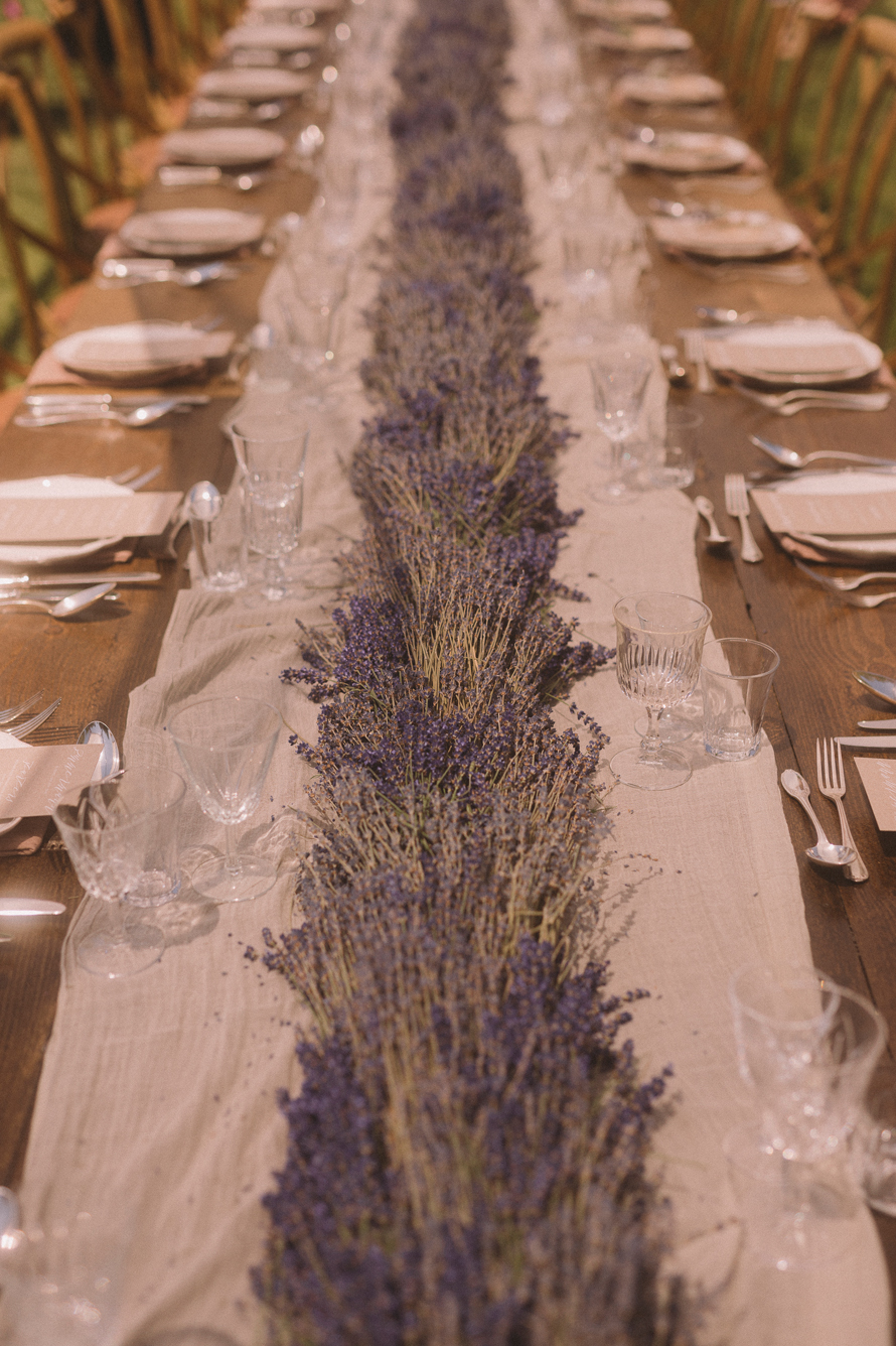 Lavender doubles as a table runner