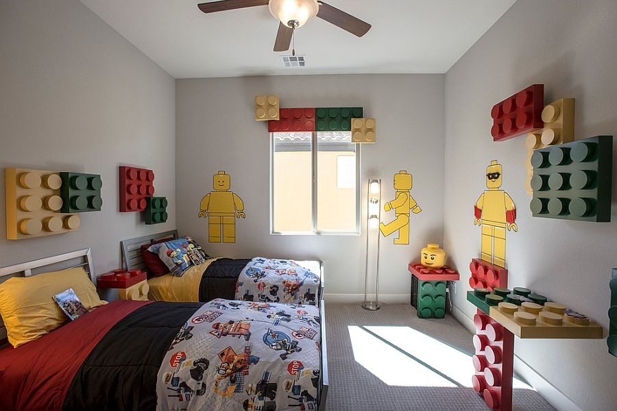 Lego themed kids' bedroom in gray with custom additions and color