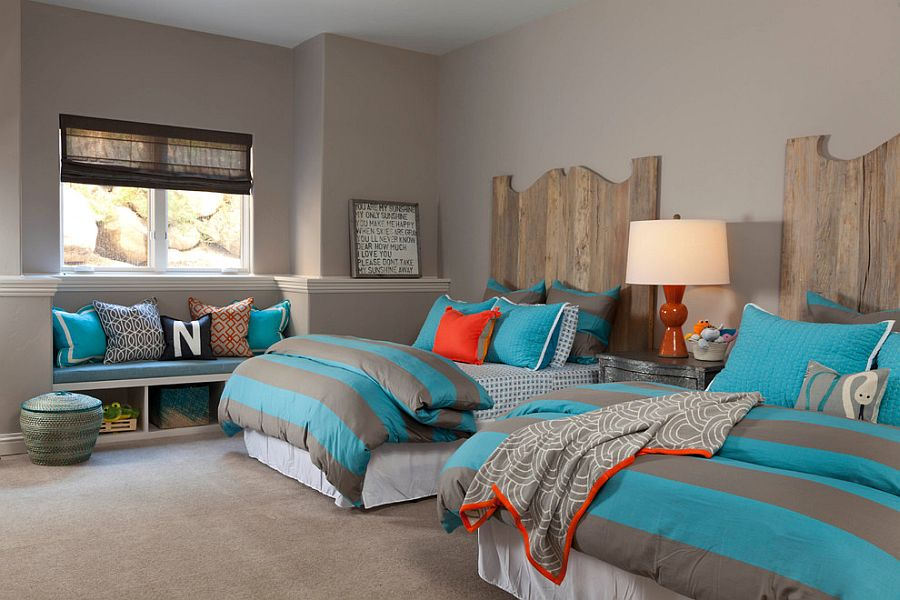 Modern rustic kids' toom with blue accents that bring color to the space