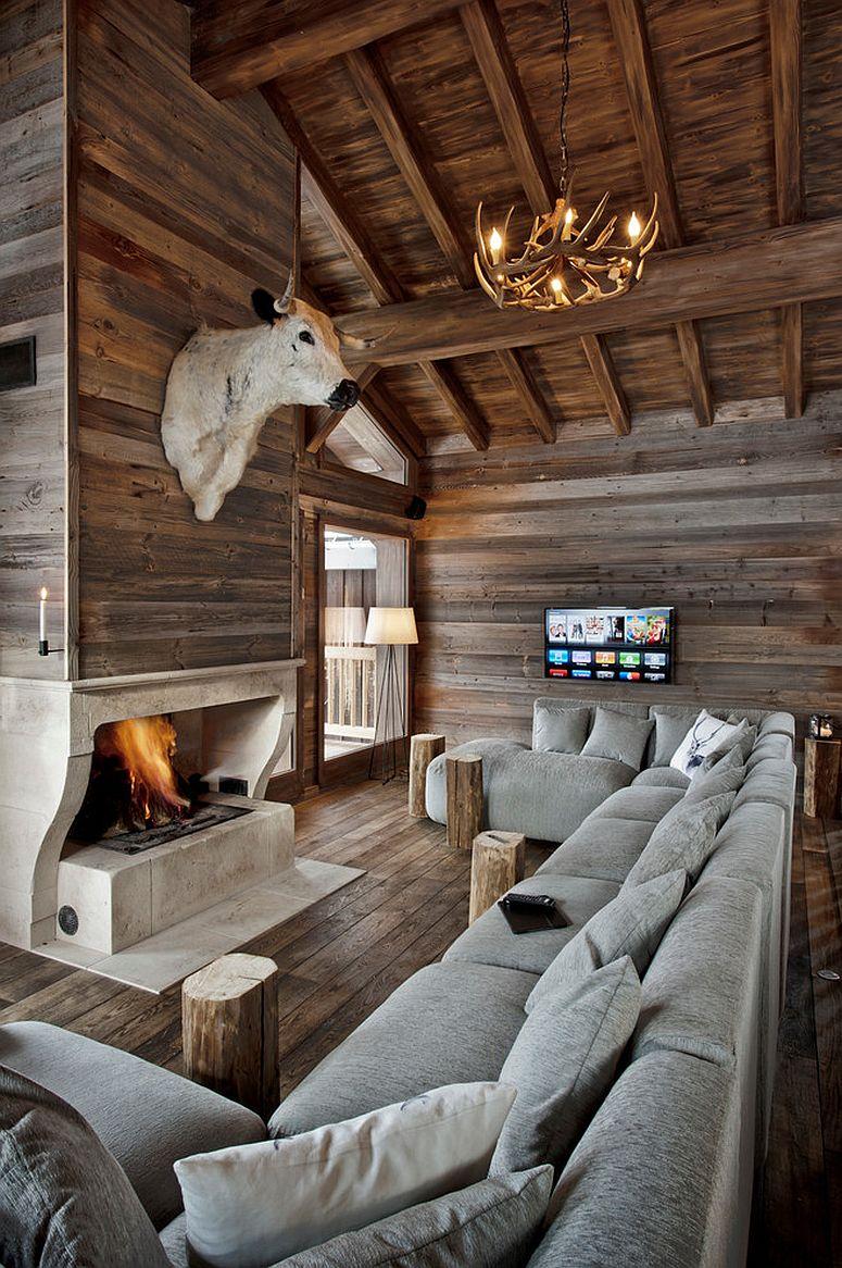 Modern rustic living room in reclaimed wood