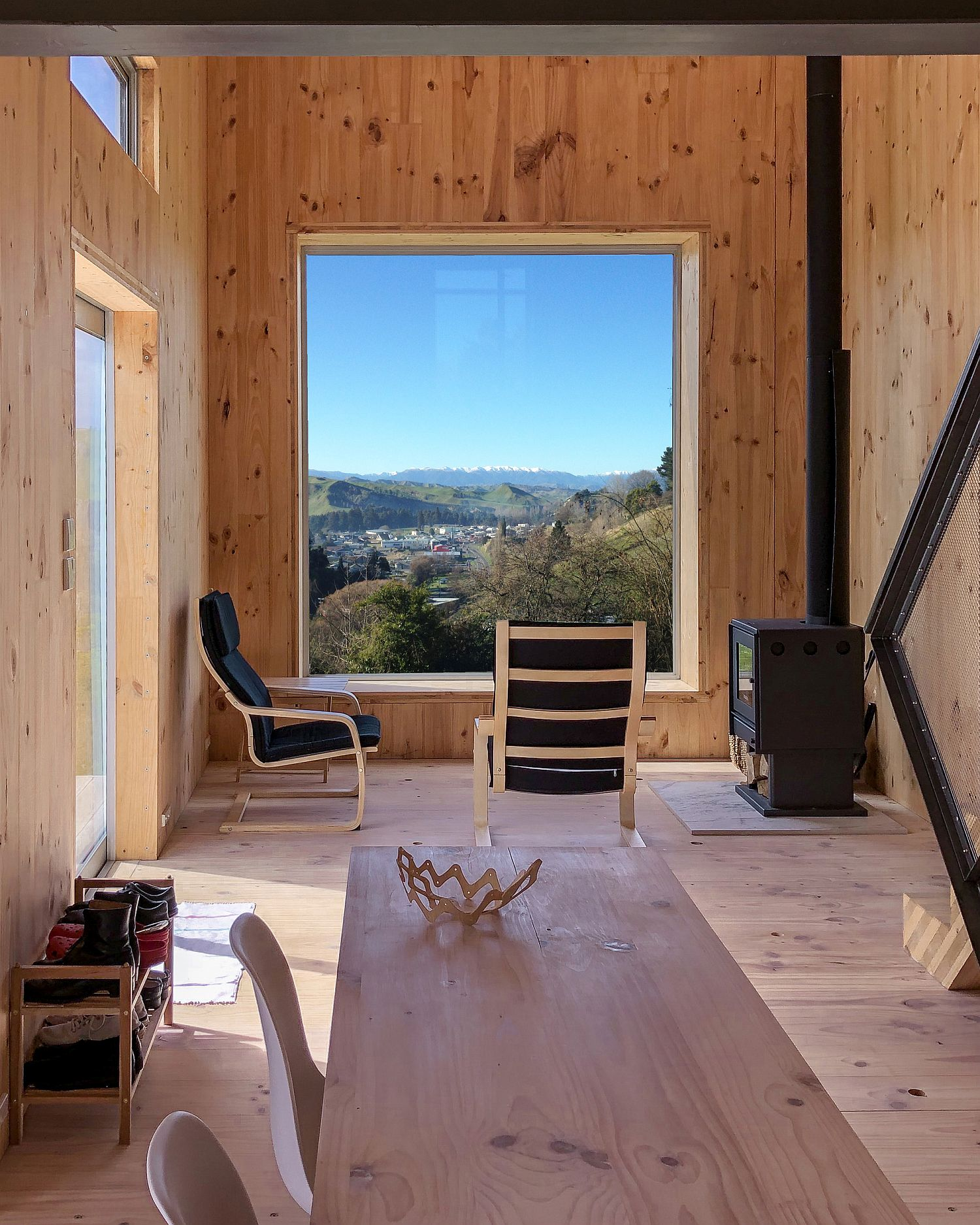 Picturesque views of forest landscape and hills from the cabin