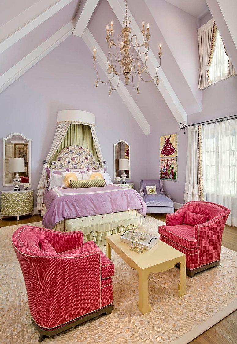 Princess-themed girls' bedroom in violet