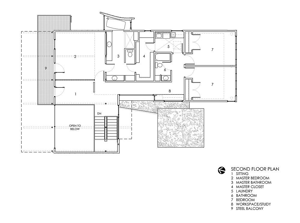 Second floor plan of Orange House