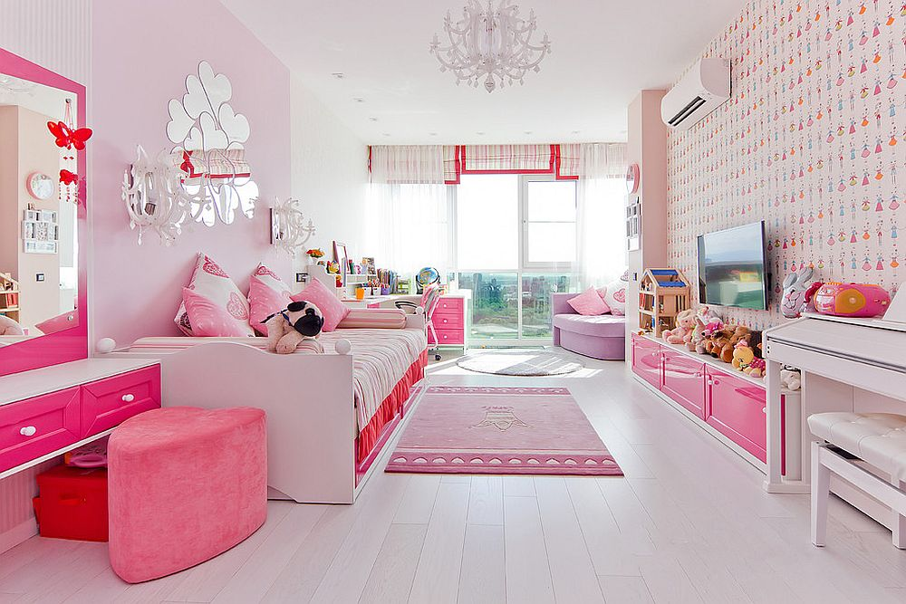 Smart and white girls' bedroom with plenty of pink