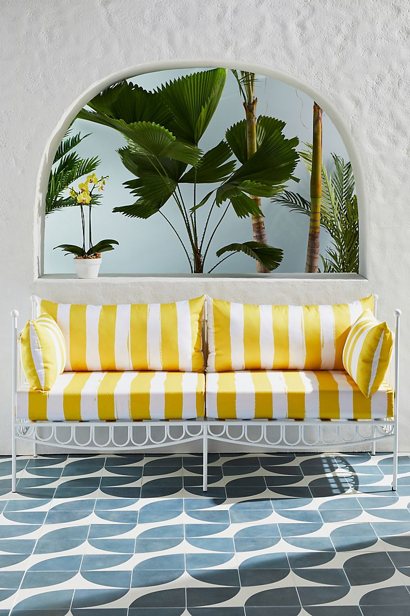 Striped outdoor sofa from Anthropologie