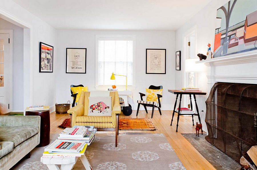 Striped yellow chair in the white living room catches your eye instantly