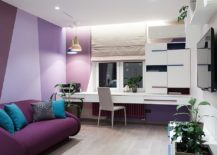 Stylish-contemporary-kids-room-in-purple-and-violets-is-a-showstopper-217x155