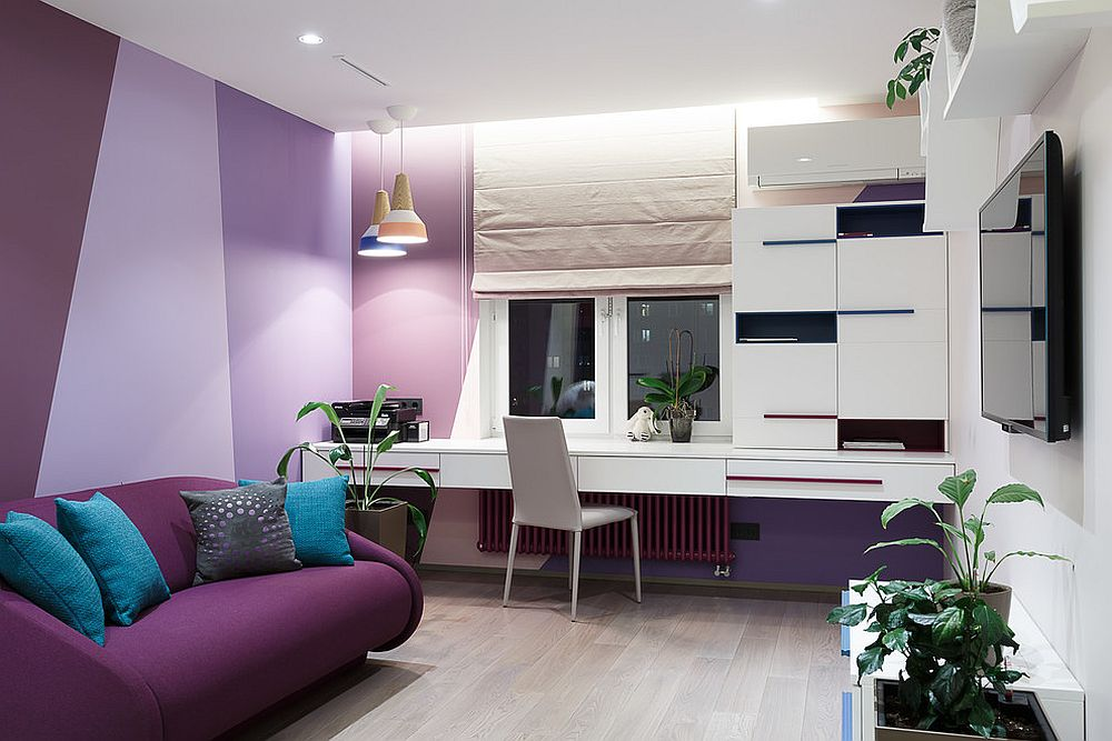 Stylish contemporary kids' room in purple and violets is a showstopper