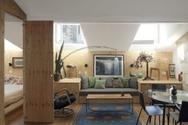 Tiny Apartment with an Innovative Wooden Platform that Morphs into Décor!
