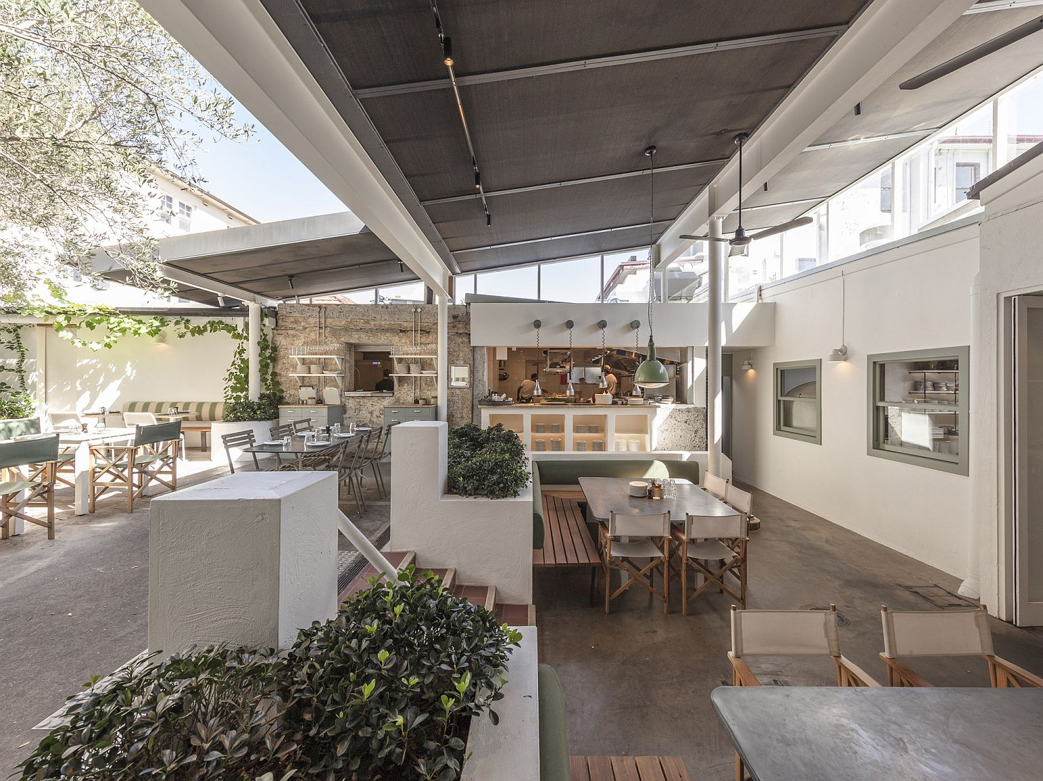 Totti's courtyard adds greenery to the setting