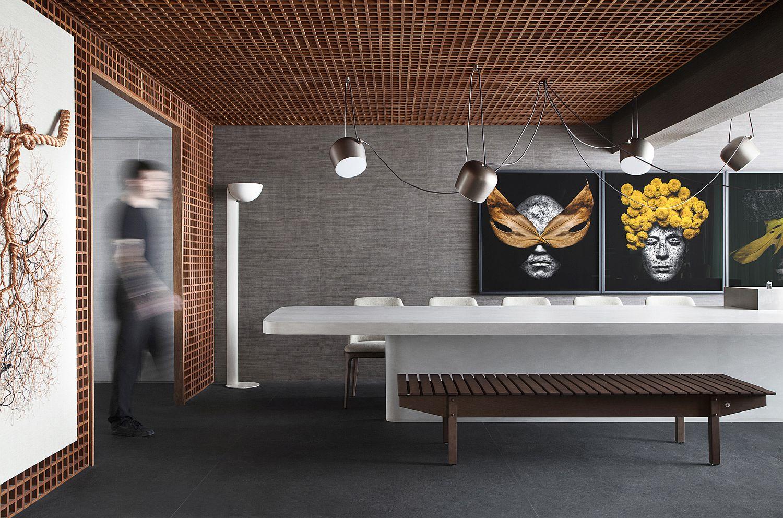 Uniquely designed ceiling of the apartment interior makes a smart statement