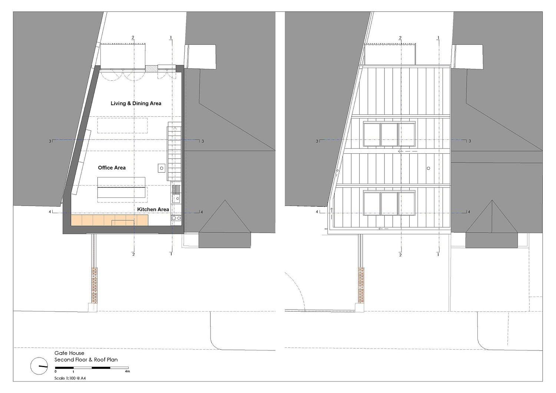 Upper level floor plan of unique British home