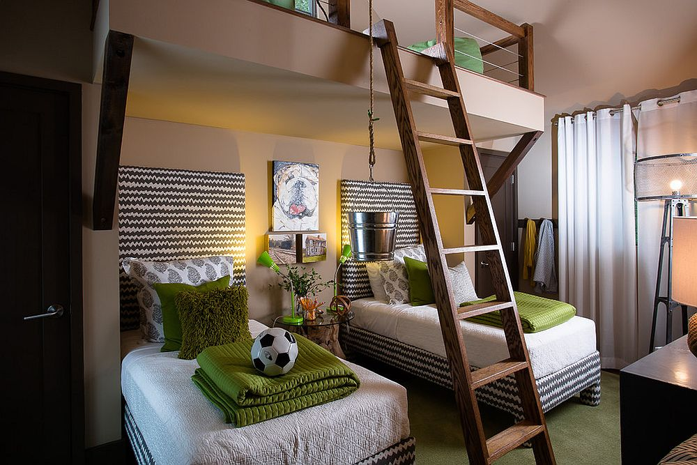 Using accents to add green to the kids' bedroom