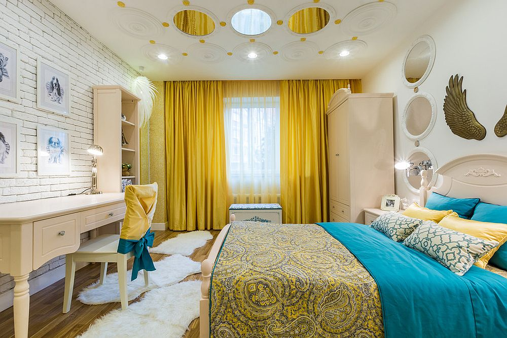 Using drapes and bedding to give the room a yellow aura with ease