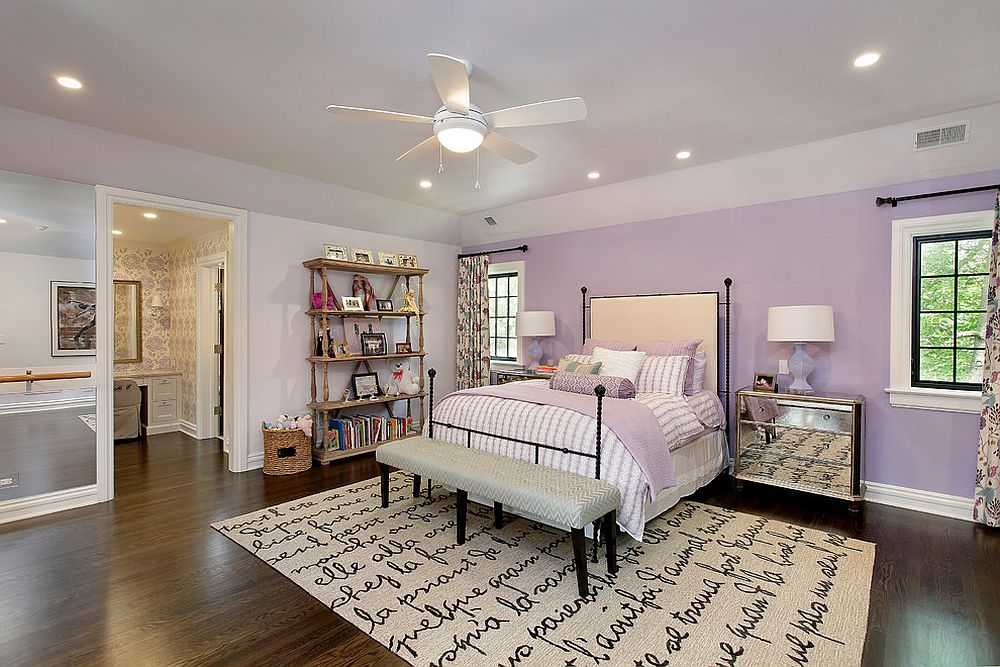 Violet accent wall for the snazzy kids' room