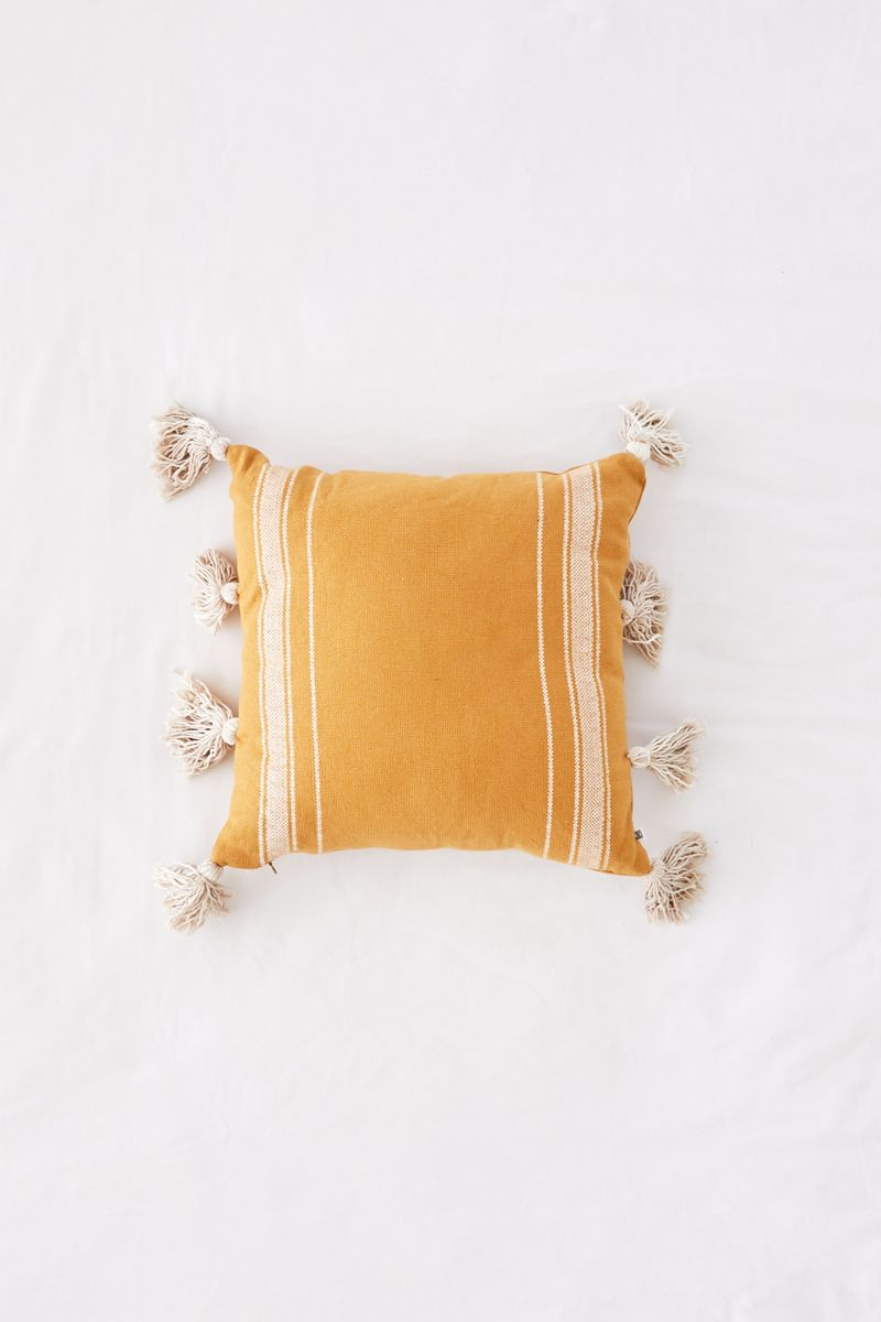 Yellow striped throw pillow from Urban Outfitters