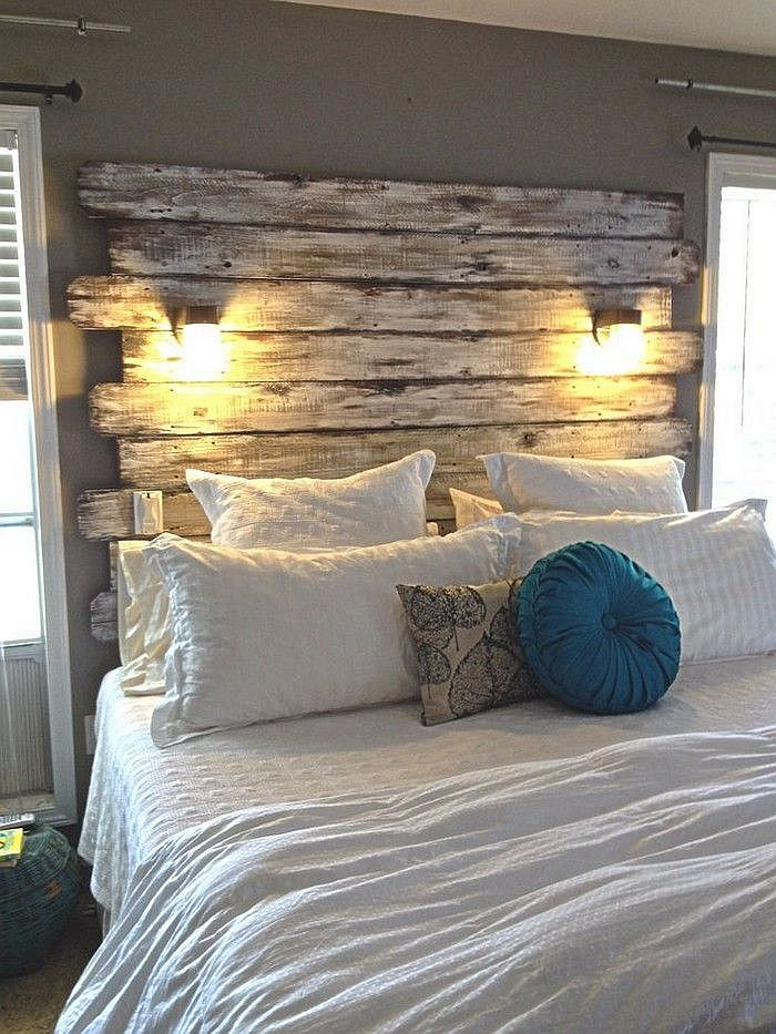 Adding lighting to the DIY pallet headboard with ease