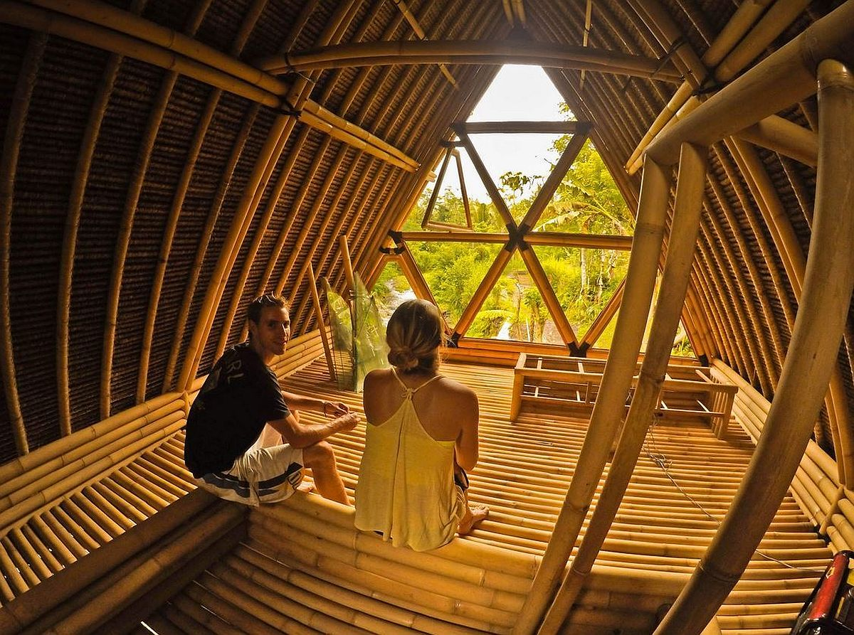 All-bamboo interior and design of the Hideout