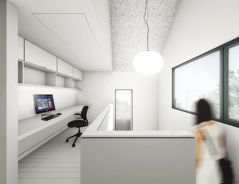 All-white workspace on the upper level of the house