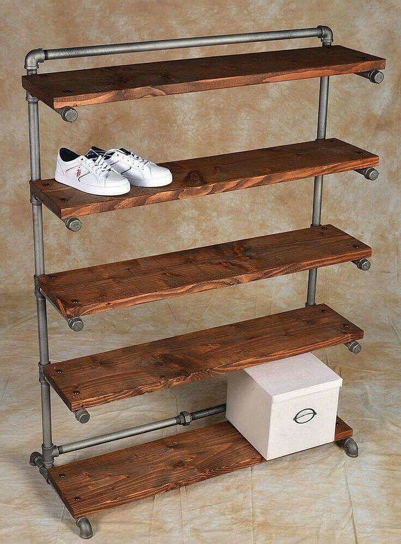 Another cool metal and wood shoe rack idea that is a hit