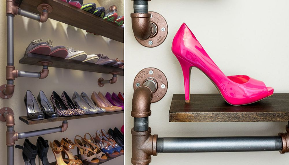 Awesome and dashing industrial DIY shoe rack