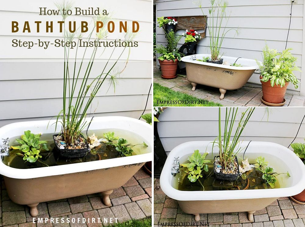 Bathtub pond puts that old, vintage bathtub to good use