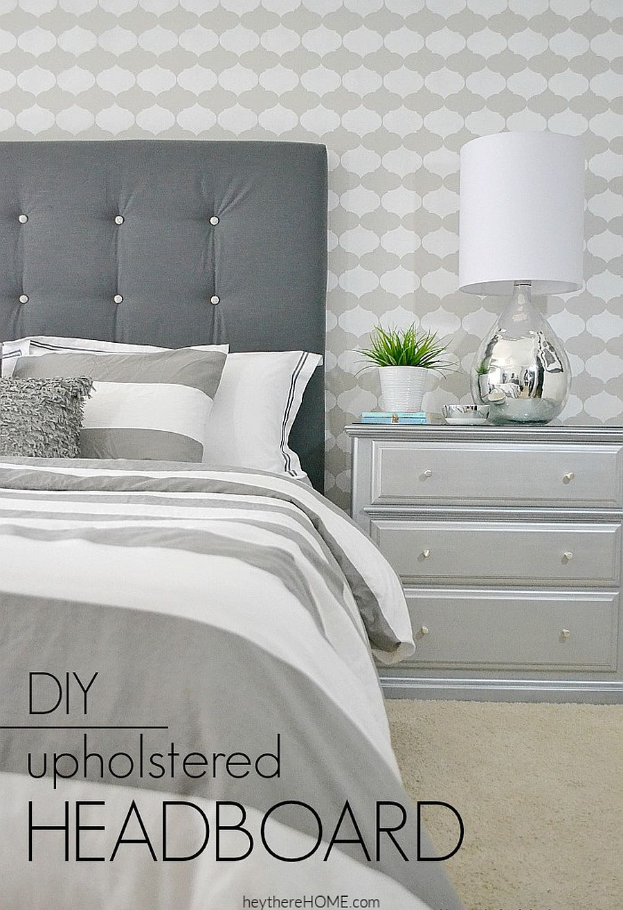 Beautiful DIY fabric headboard with tufting from Hey There Home
