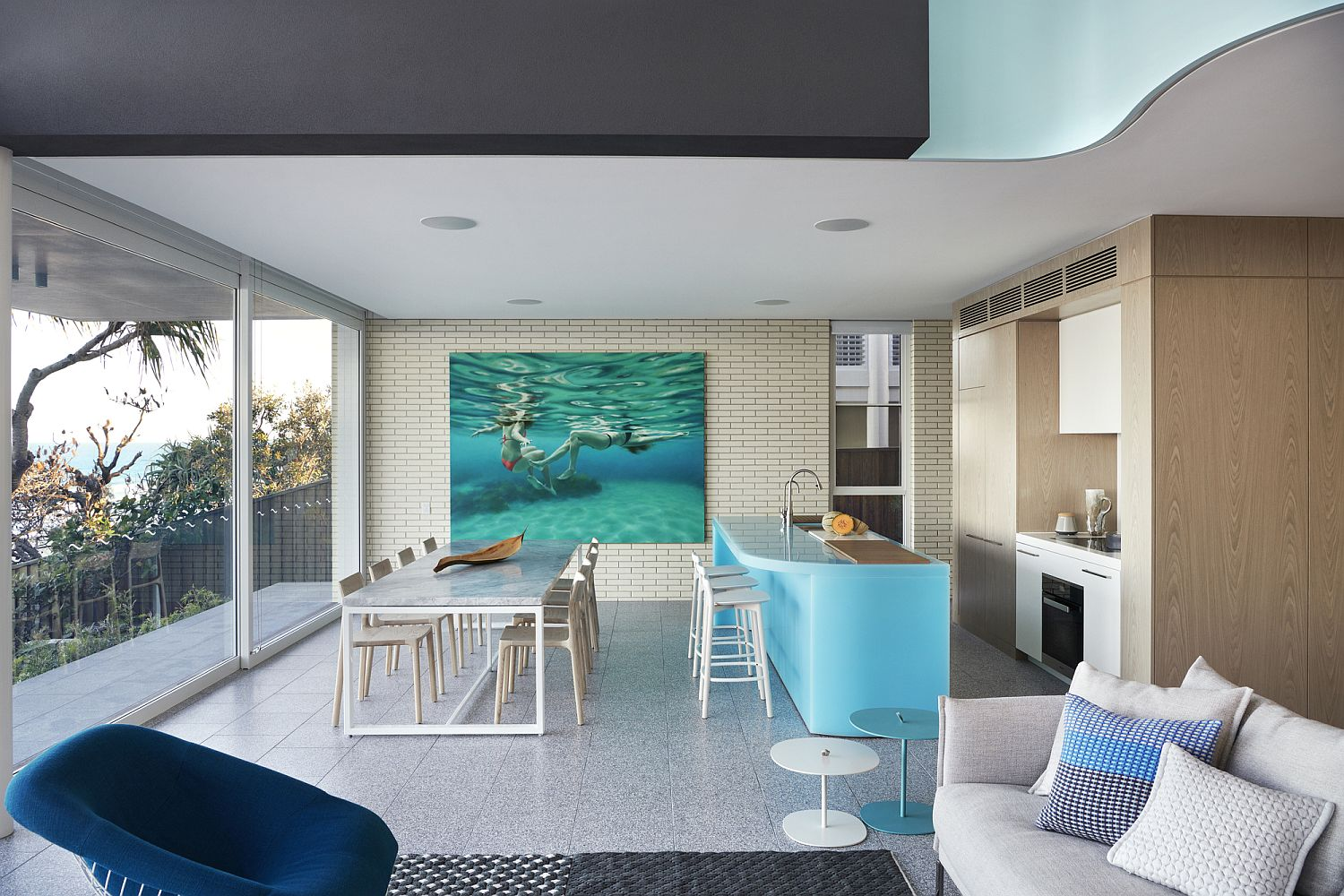 Beautiful kitchen and dining area of the Sunshine Beach House