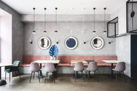 Exposed Concrete, Polished Pinks and Gentle Blues: Trendy Café in Russia