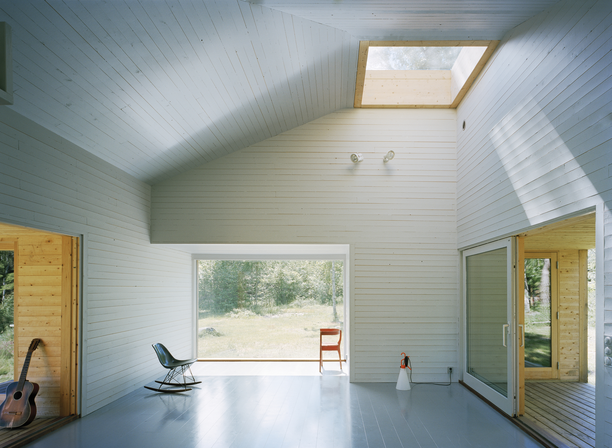Central skylight brings ample natural light into the small summer home