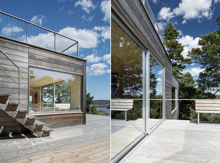 Closer look at the wooden deck and the view outside the cottage
