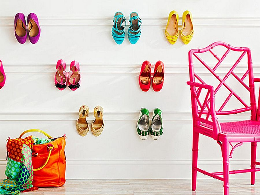 Colorful DIY shoe storage and display idea