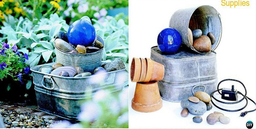 Colorful and touch rustic Gazing ball bubbler fountain DIY