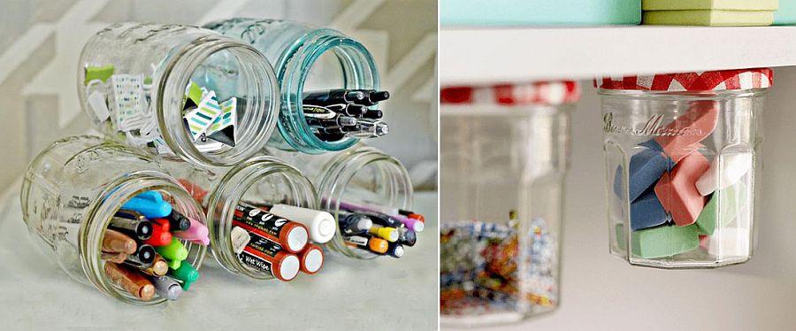 Combine a few cool jars for smart desk storage options