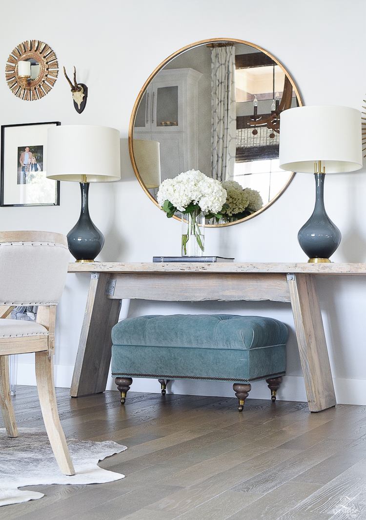 Console table with two lamps