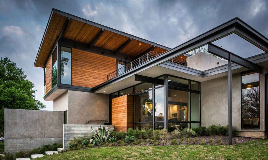 Concrete, Wood and Metal Beams: Multi-Level Hilltop Residence in Austin