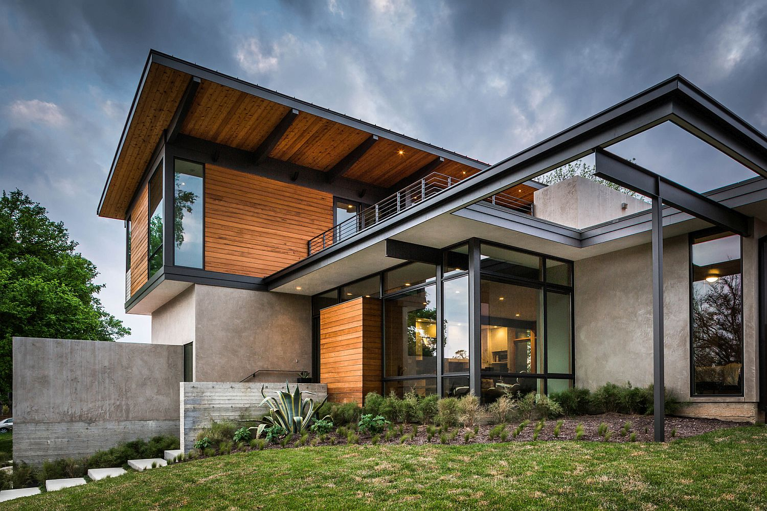 Contemporary hilltop house in Austin that is partially sunk into the ground