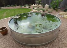 Cool-DIY-outdoor-pond-crafted-from-galvanized-water-trough-217x155