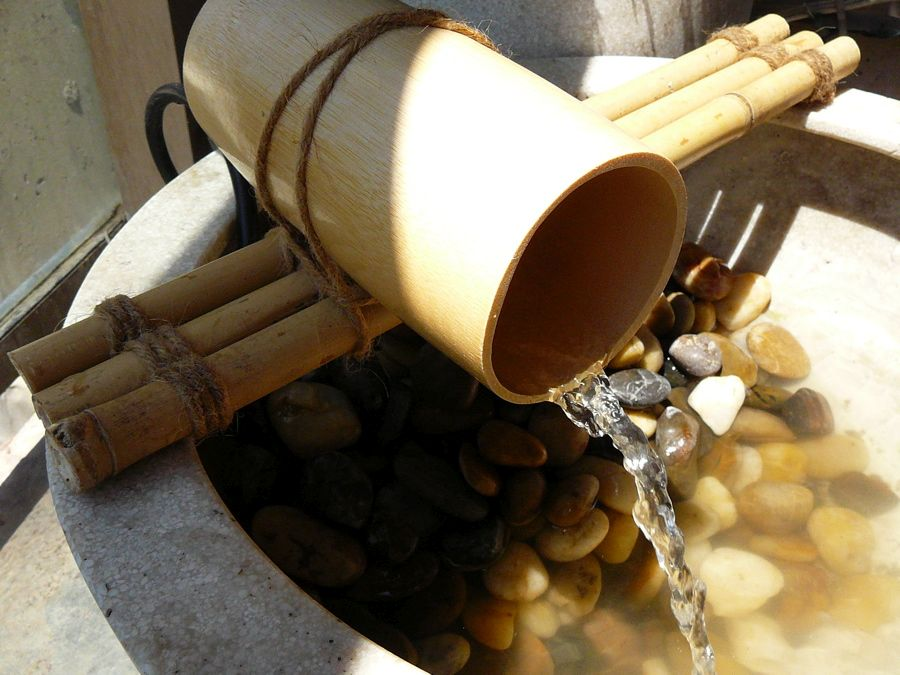Custom DIY bamboo water feature for the modern Asian- themed garden