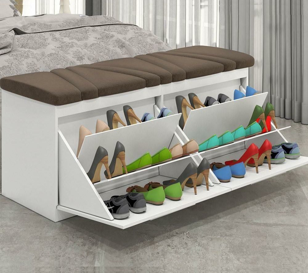 Custom bult shoe rack that can be hidden away when not needed