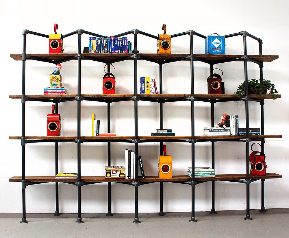 Custom metal and wood shelf with a bit of color added to it