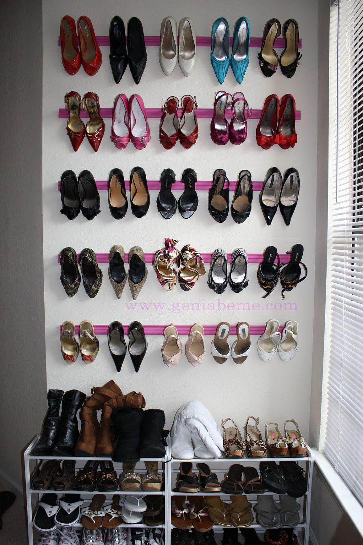 Custom space-saving shoe rack with crown molding