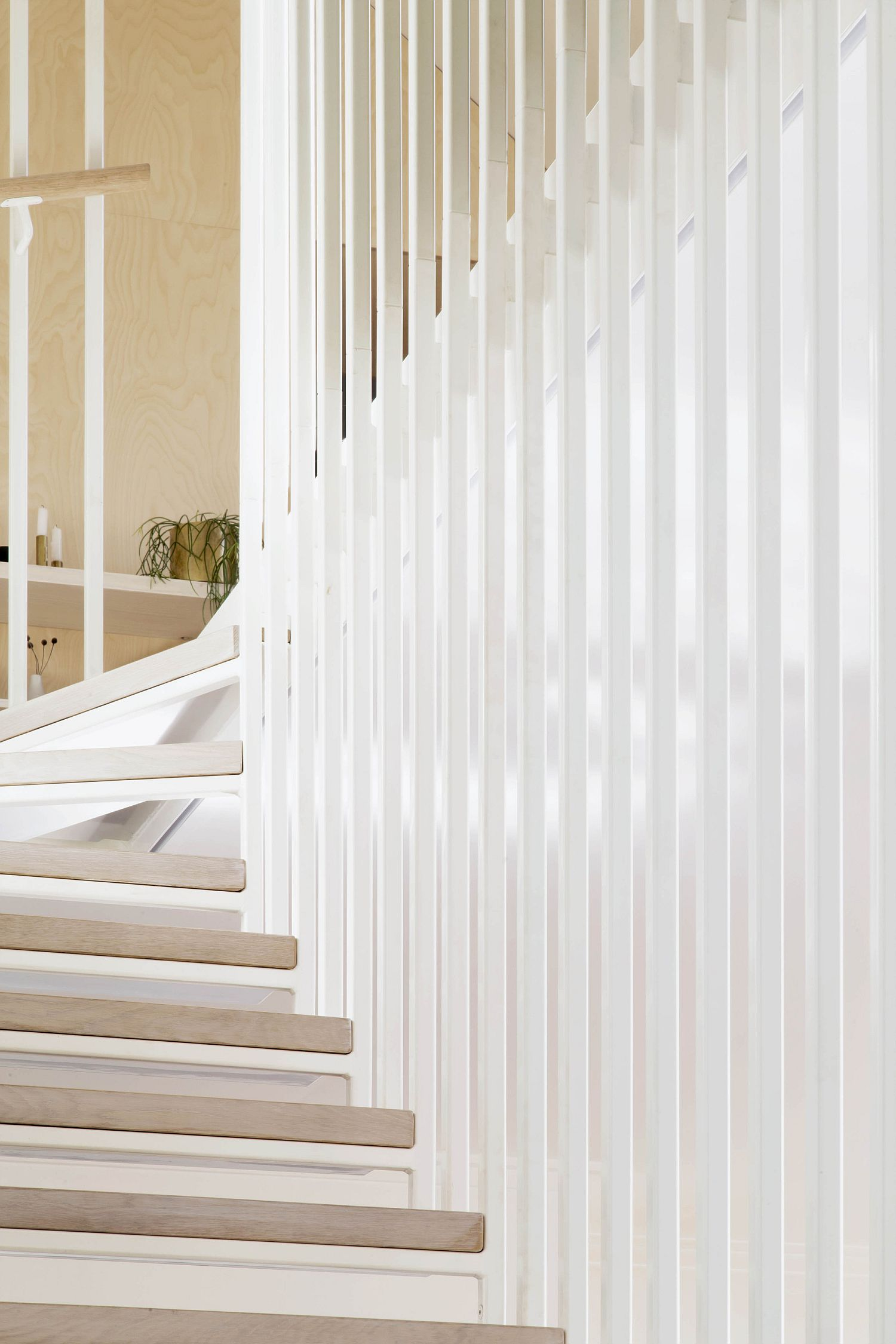 Custom staircase design of the Hideaway House