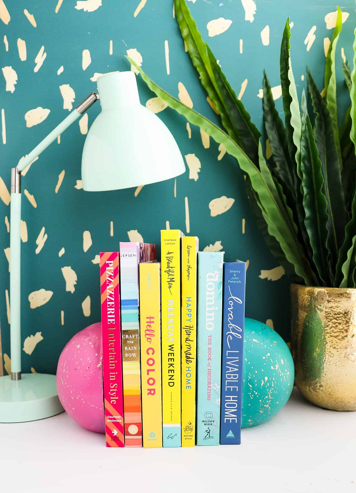 DIY concrete sphere bookends for a more organized and neat desk