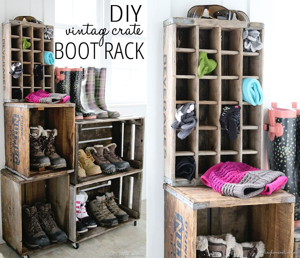 DIY crate vintage boot rack with repurposed charm
